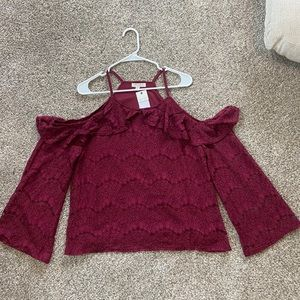 NWT Cold Shoulder Lacey Top